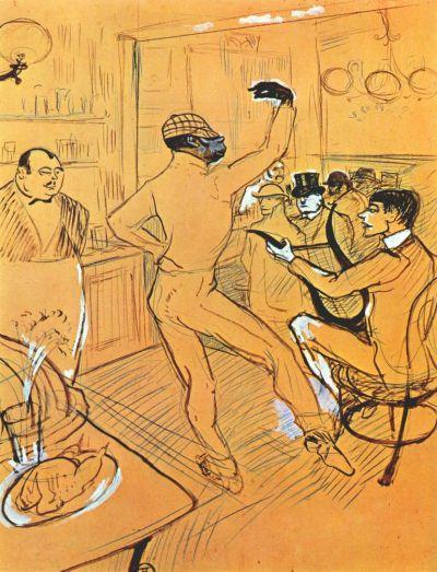 El payaso Chocolat bailando en el Irish-American Bar. Henri de Toulouse-Lautrec. 1896.