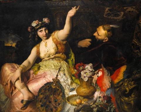 Ferdinand_Keller_-_Scheherazade_und_Sultan_Schariar_(1880) (1)